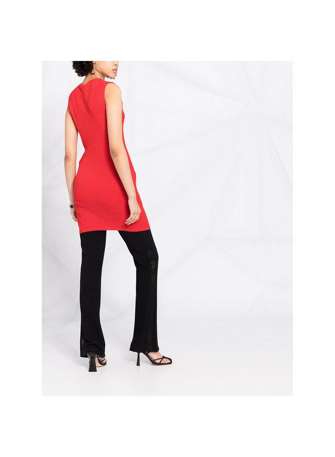 Mini Rib Knit Dress in Red
