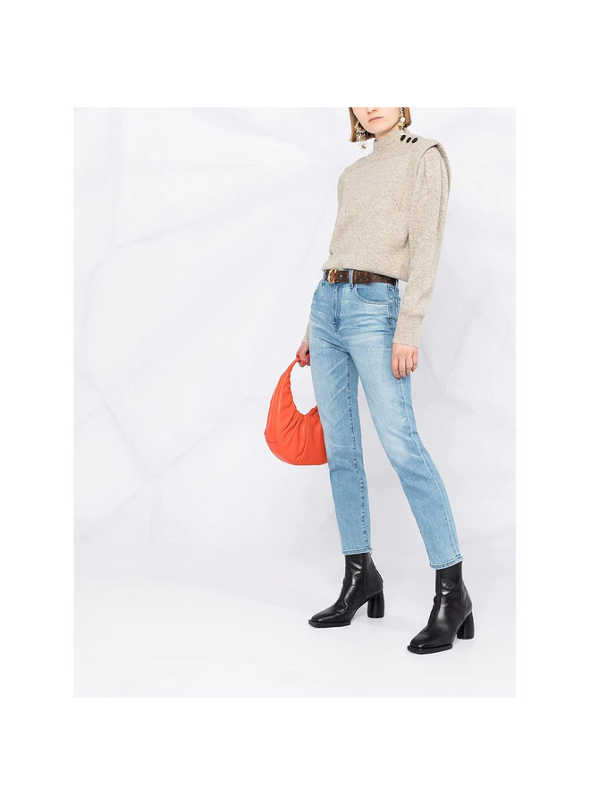 High Waisted Cropped Jeans in Stone Wash Blue