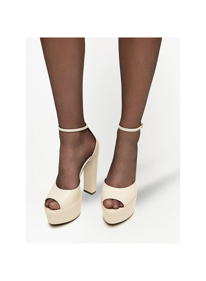 Jodie Platform Sandals in Leather in Pearl