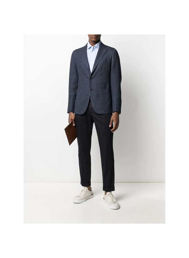 Z Zegna Tailored  Pleated Pants in Stretch Cotton in Navy