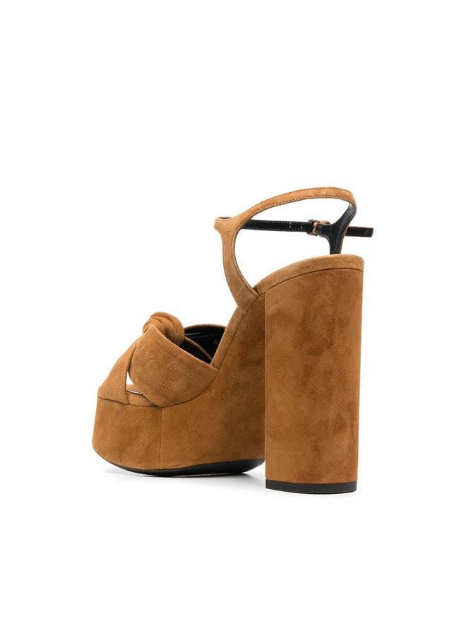 Bianca High Heel Platform Sandals in Suede in Light Brown