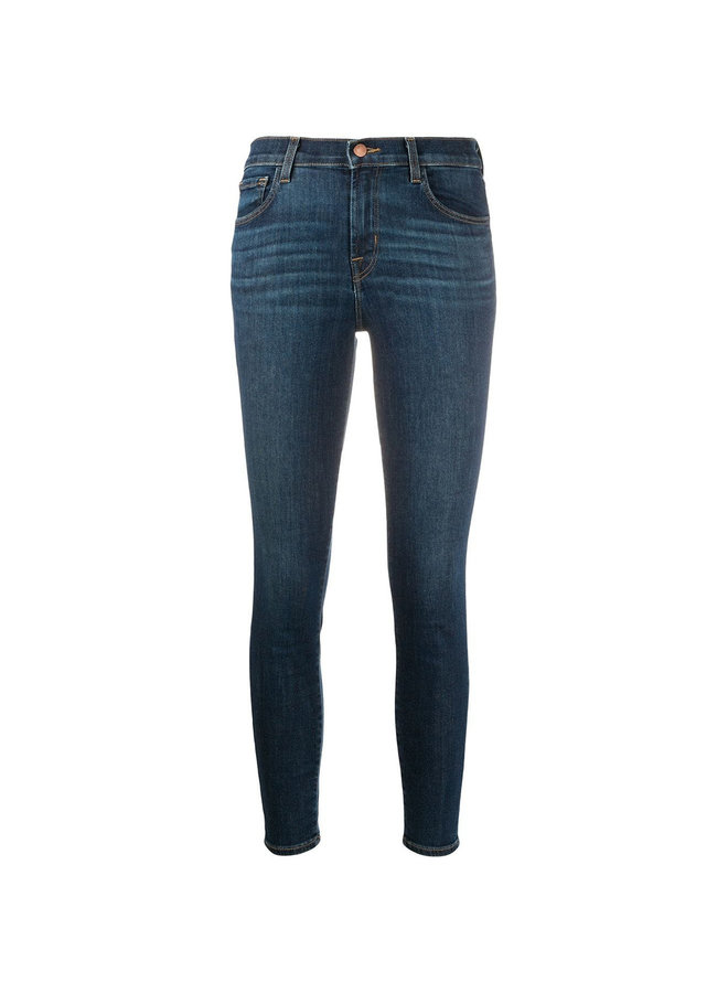 Capri Mid Rise Cropped Jeans in Stone Wash Blue