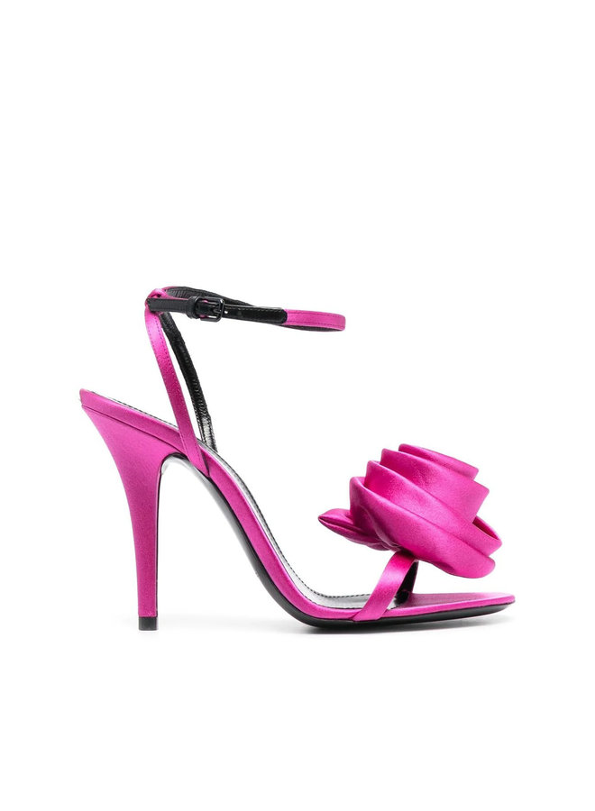 Ivy High Heel Sandal with Rose Detail in Fuschia
