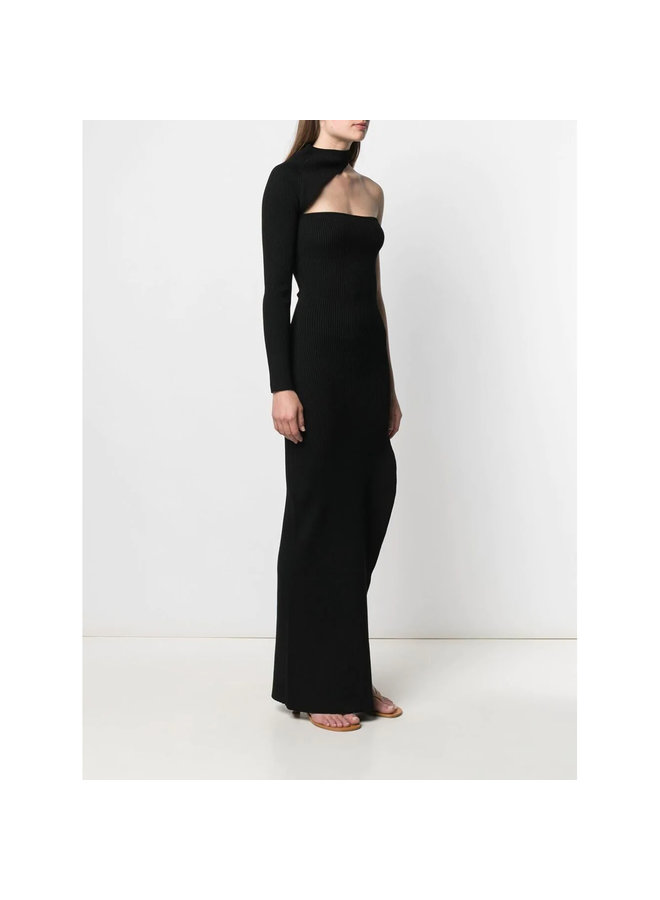 One Sleeve Long Knitted Dress in Black