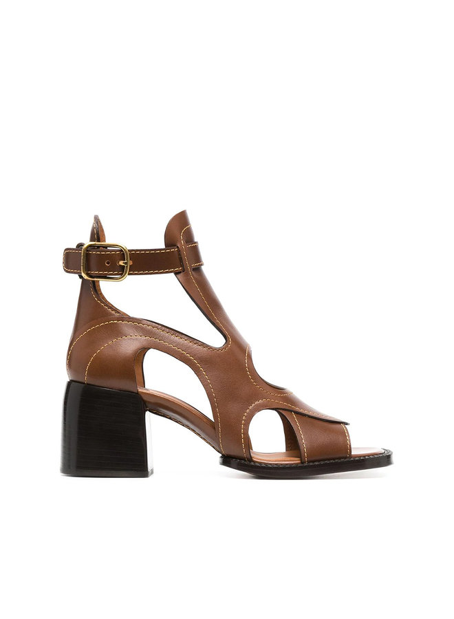Cut Out Mid Heel Sandals in Leather in Brown
