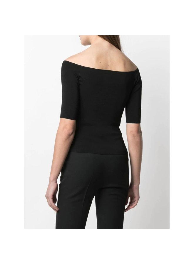 Off Shoulder Knitted Top in Black