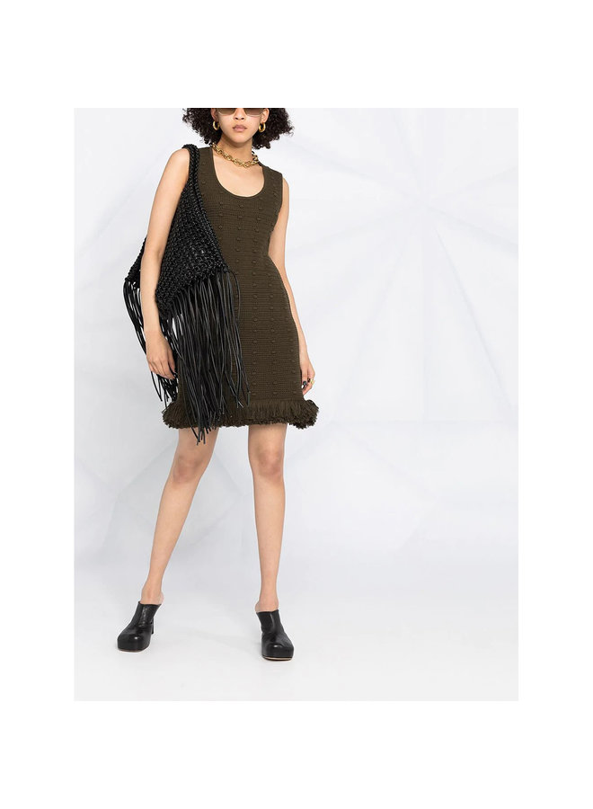 Sleeveless Mini Knitted Dress in Cotton in Olive
