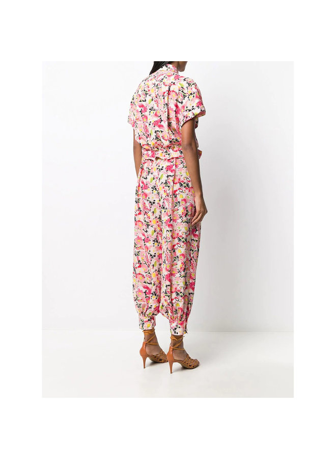 Short  Sleeve Jumpsuit in Floral Print in Pink