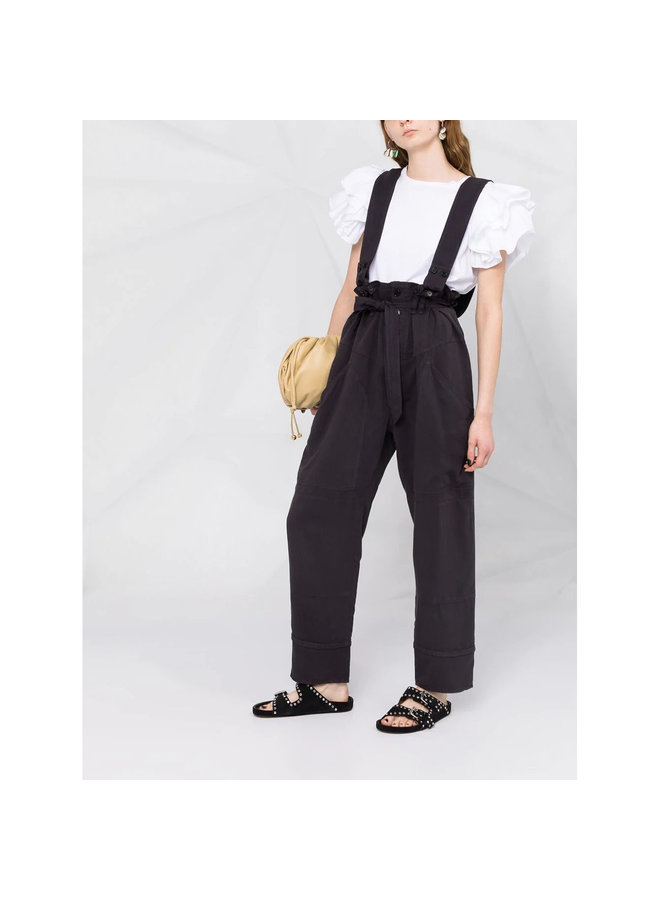 High Waisted Pants with Shoulder Straps in Faded Night