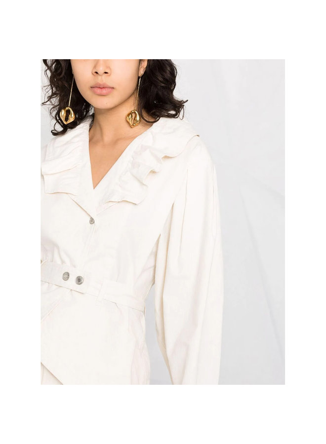 Cropped Jacket with Ruffle Details in Ecru