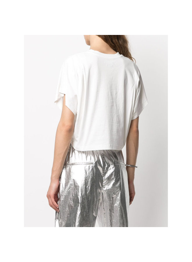 Cropped Crew Neck T-shirt in Cotton in White