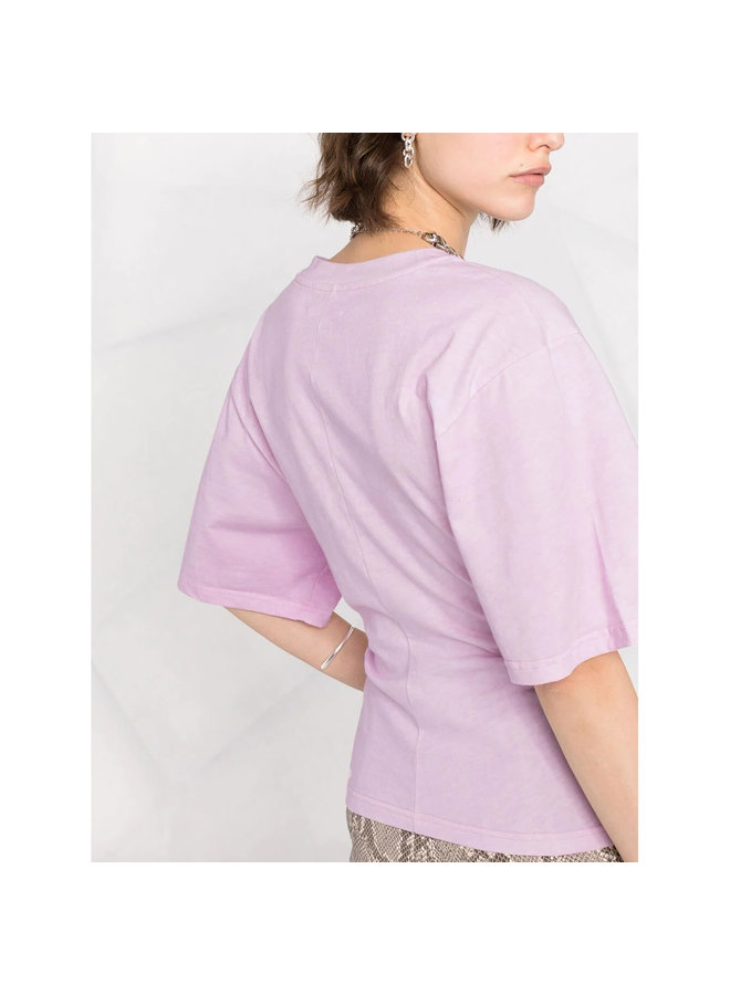 Asymmetric T-shirt in Cotton in Light Pink