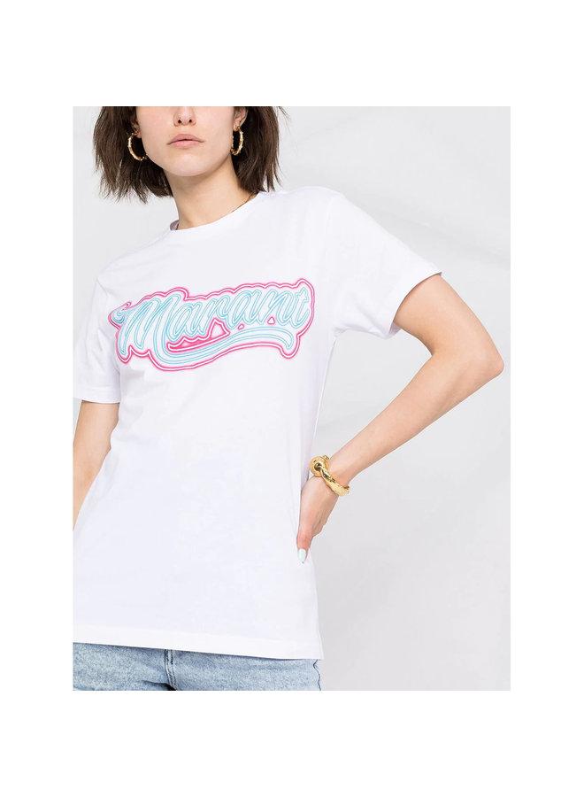 Fluorescent Logo-print T-shirt in Cotton in White