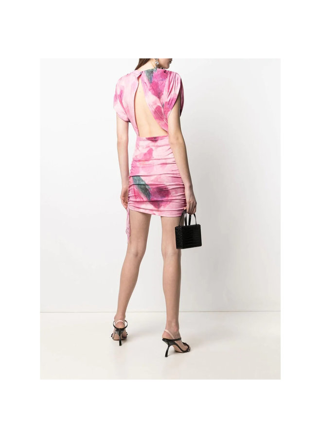 Mini Printed Dress in Cotton in Pink