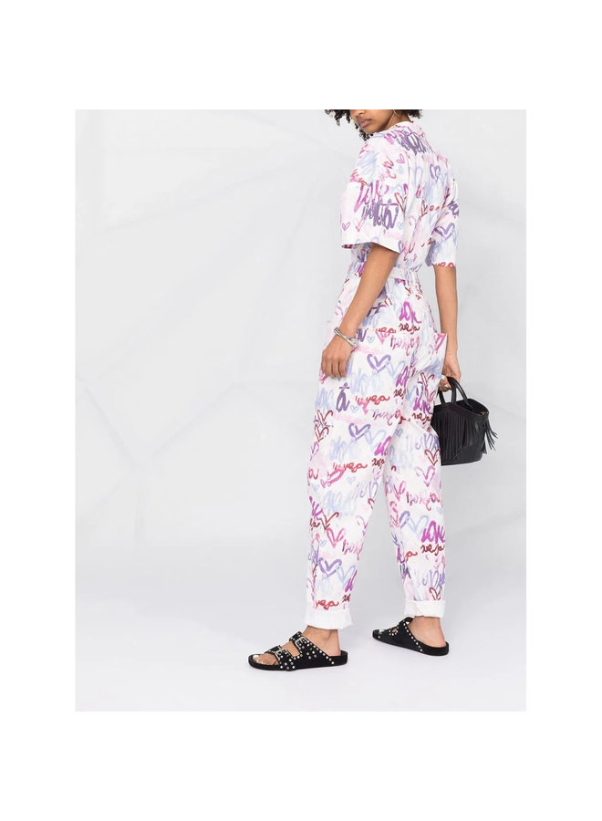 Full Length Printed Jumpsuit in Linen in Multicolor