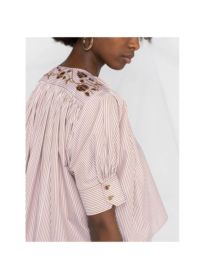 Cropped Striped Embroidered Blouse in White/Beige