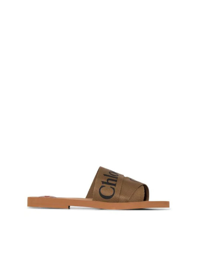 Woody Logo Flat Mules in Canvas in Grove Brown