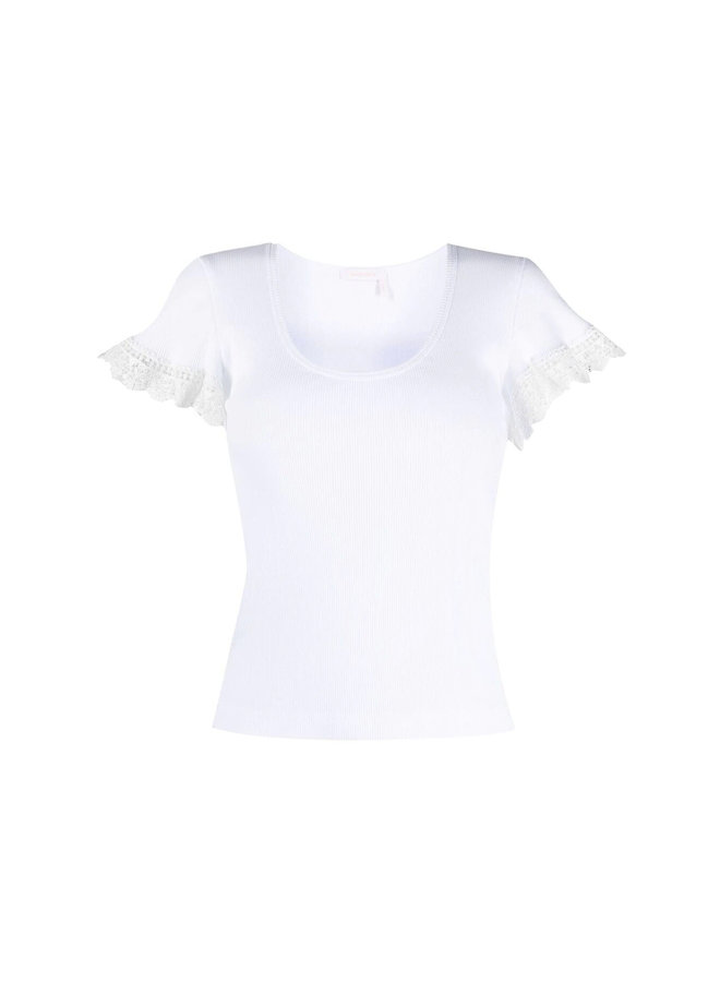T-shirt with Guipure Lace Trim in Cotton in White