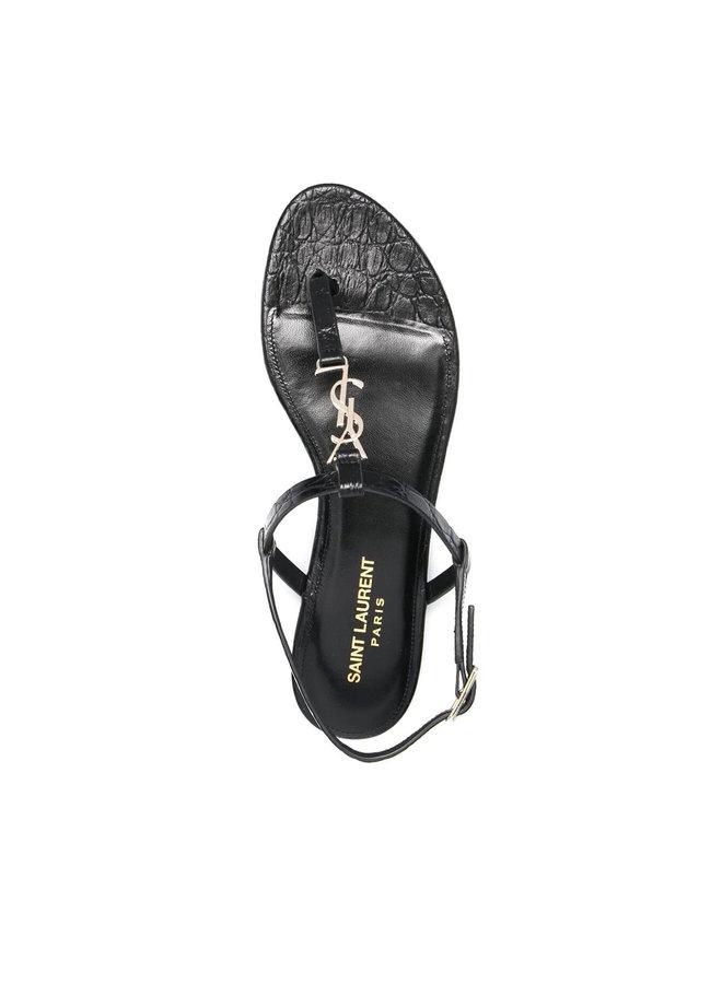 Cassandra Open Toe Logo Sandals in Leather in Black