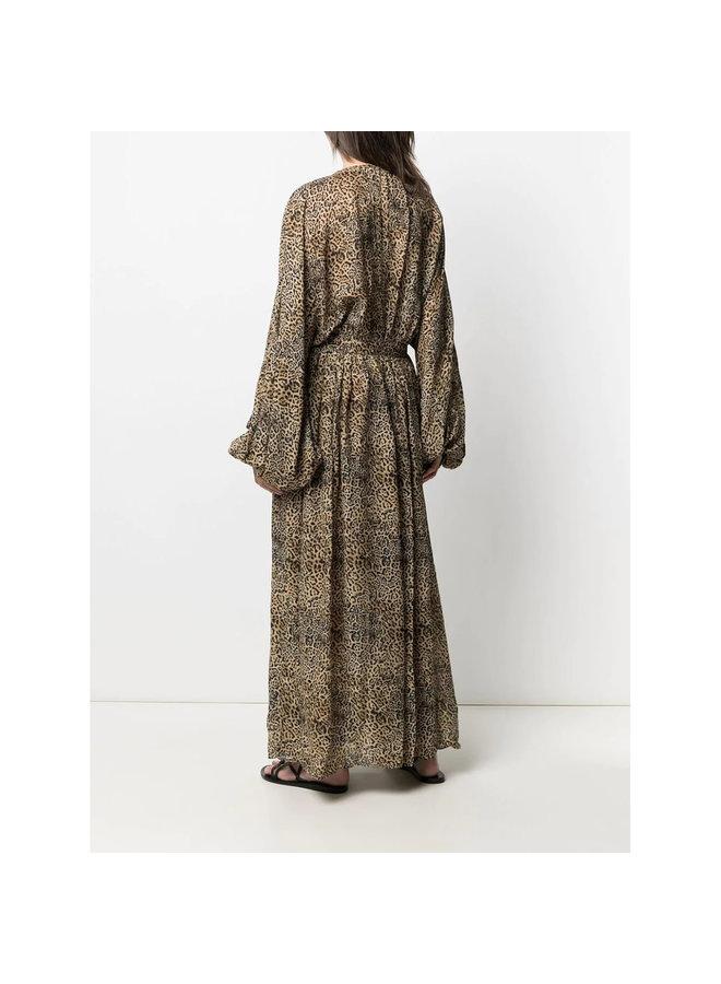 Long V-Neck Dress in Leopard Print