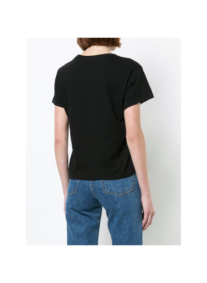 Crew Neck Boxy T-Shirt in Cotton in Black