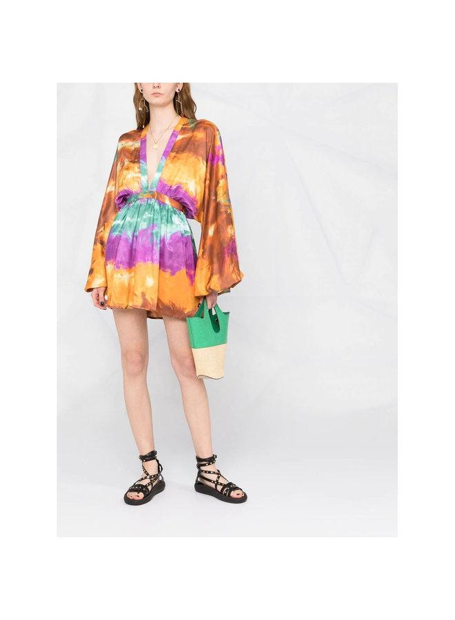 Mini Dress in Tie Dye Print in Multicolor