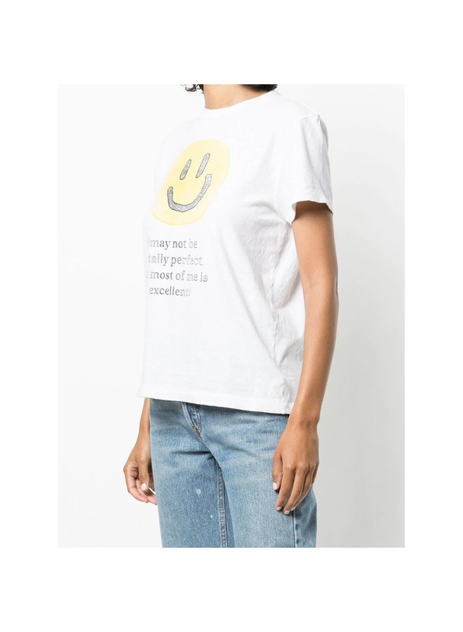 Crew Neck Graphic Print T-shirt in Cotton in Vintage White