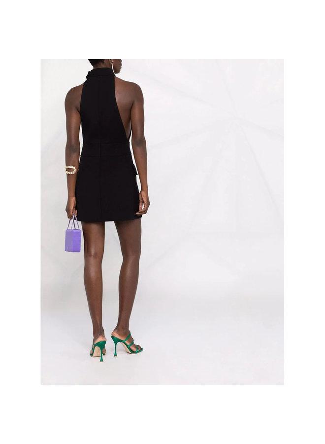 Halterneck Mini Dress in Wool Silk in Black