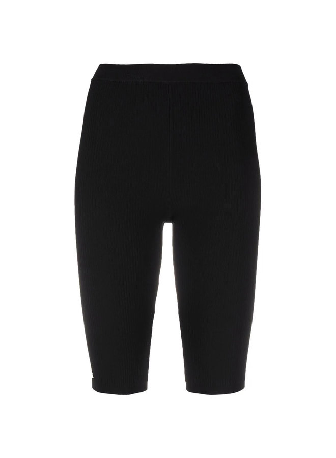Knee Length Shorts in Ribbed Knit in Black