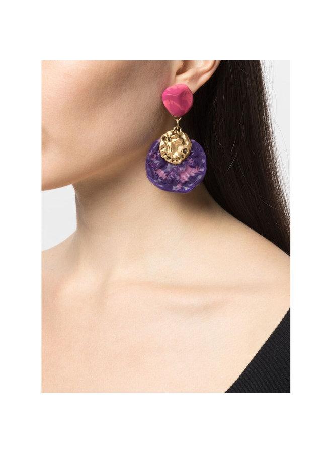 Hammered Effect Earrings in Fuschia/Violet