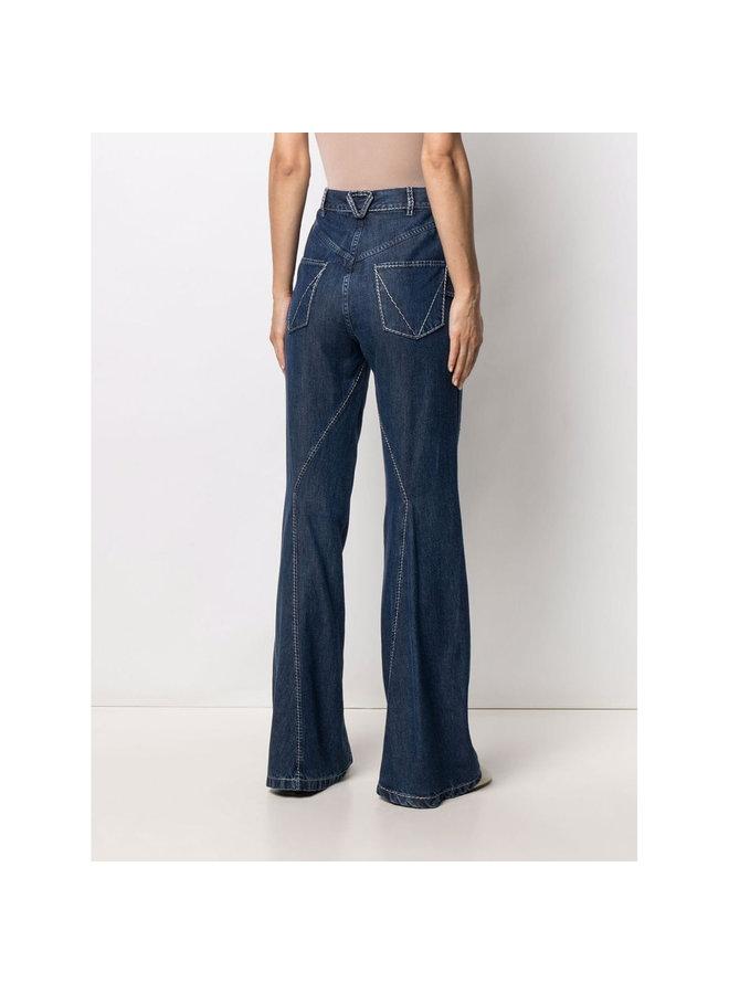 High Waisted Wide Leg Pants in Medium Blue Denim