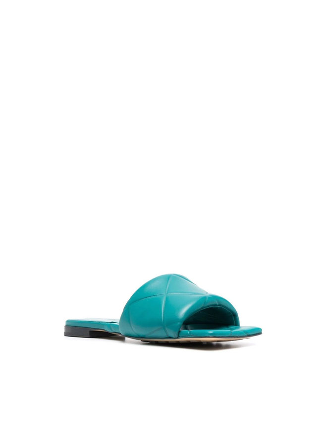 Lido Flat Mules in Leather in Duck Green