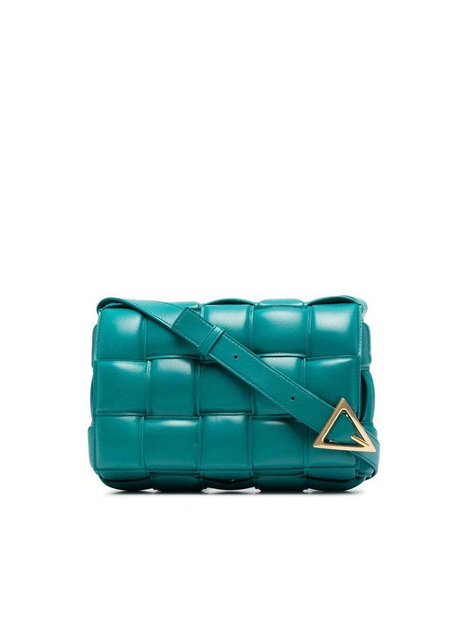 Padded Cassette Shoulder Bag in Leather in Mallard