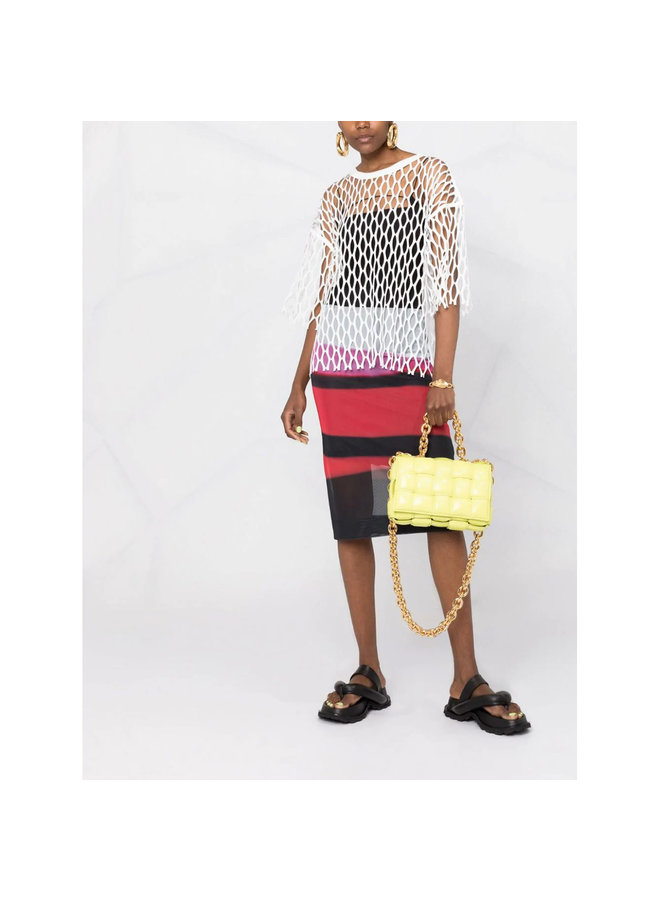 The Chain Cassette Padded Shoulder Bag in Leather in Yellow