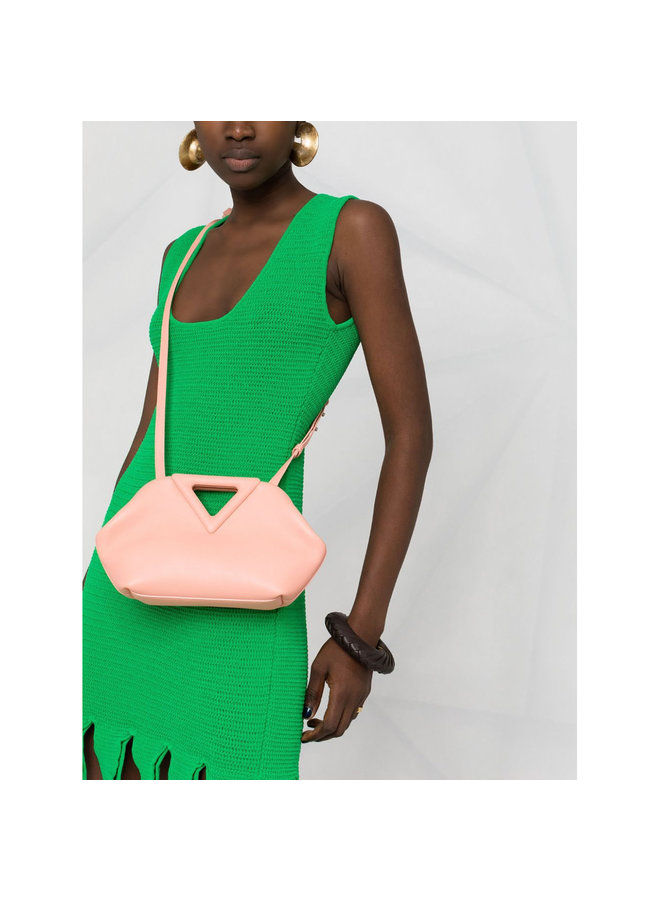 Triangle small Shoulder Bag in Leather in Peach