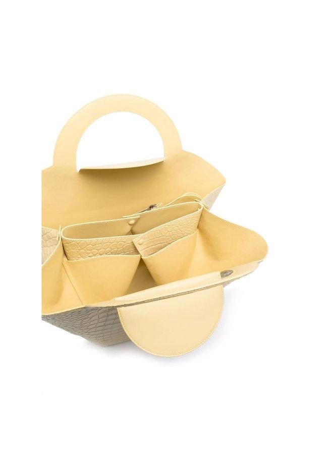 Doll Tote Bag in Embossed Croco in Vanilla