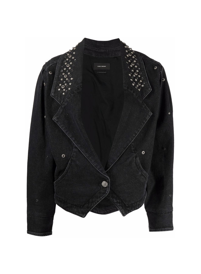 Star-Stud Denim Jacket in Faded Black