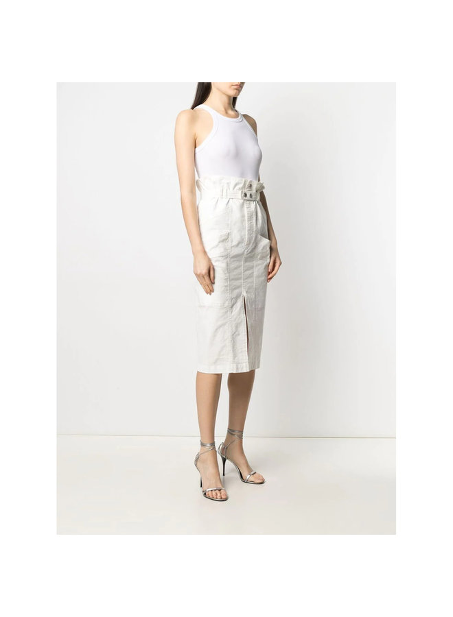 High Waist Midi Skirt in Linen in Ecru