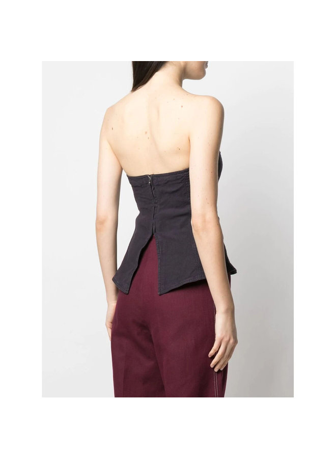 Strapless Boned Top in Linen Cotton in Faded Night