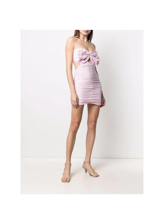 Mini Dress in Silk Cotton in Light Pink