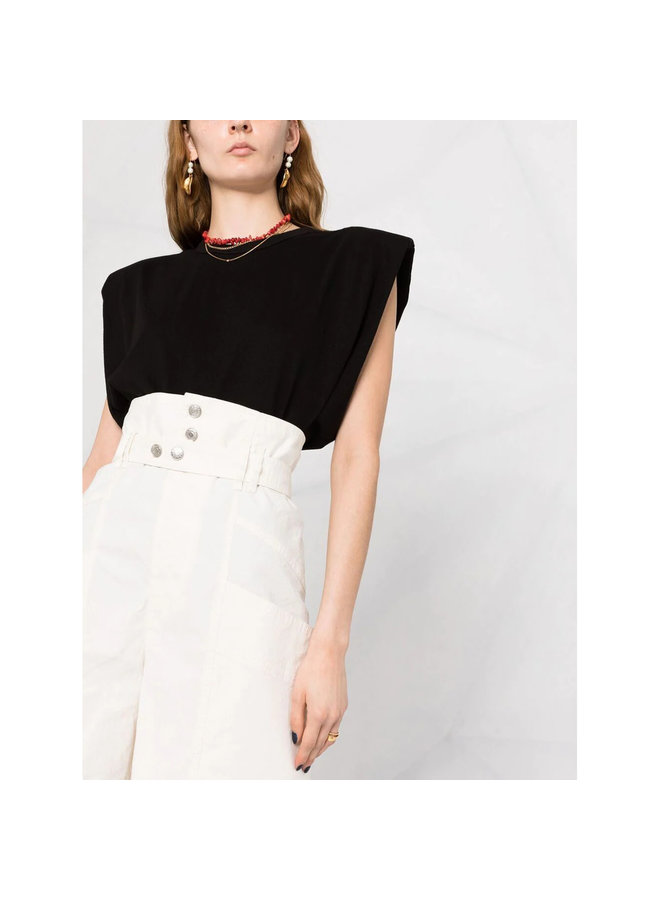 High Waisted Shorts in Linen Cotton in Ecru