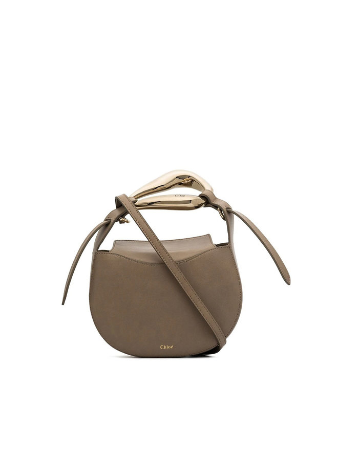 Small Kiss Bag in Leather in Motty Grey