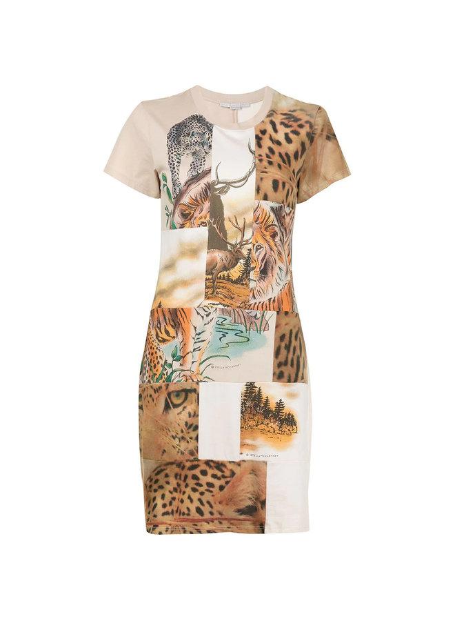 Mini T-shirt Dress in Nature Patchwork Print in Natural