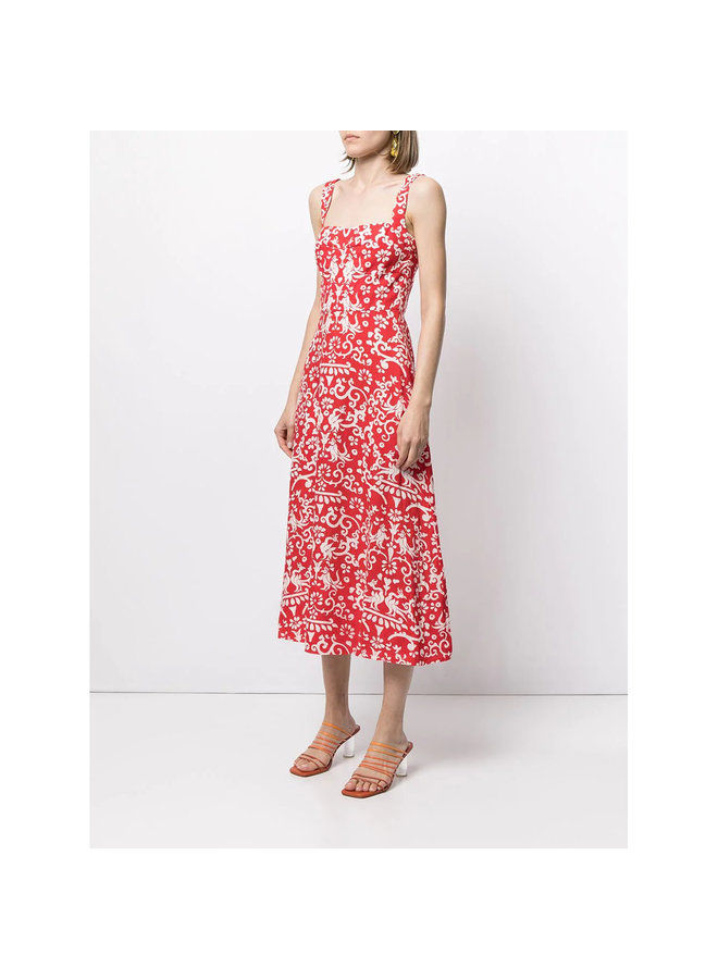 A-Line Midi Dress in Printed Linen in Chili Red