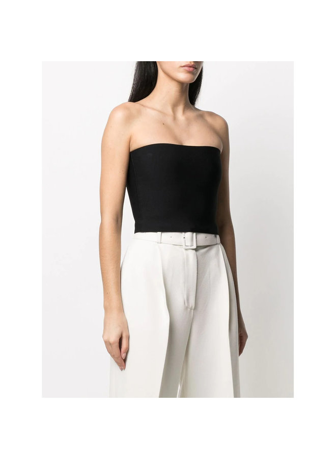 Cropped Strapless Knitted Top in Black
