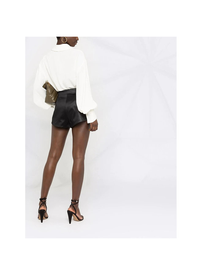 High Waisted Mini Shorts in Cotton in Black