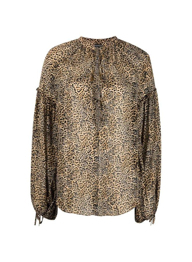 Long Sleeve Blouse in Leopard Print