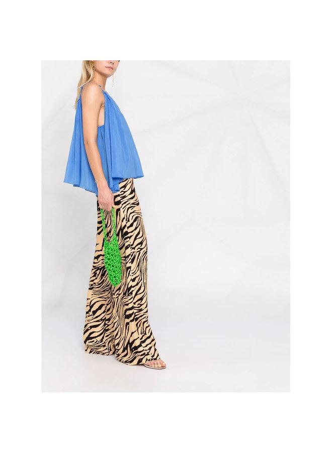 Shoulder Strap Blouse in Silk /Cotton in Blue