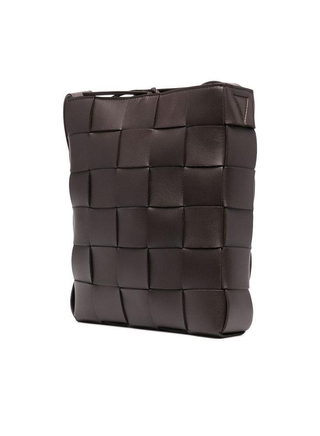 Rectangular Messenger Shoulder Bag in Intrecciato Leather in Dark Brown