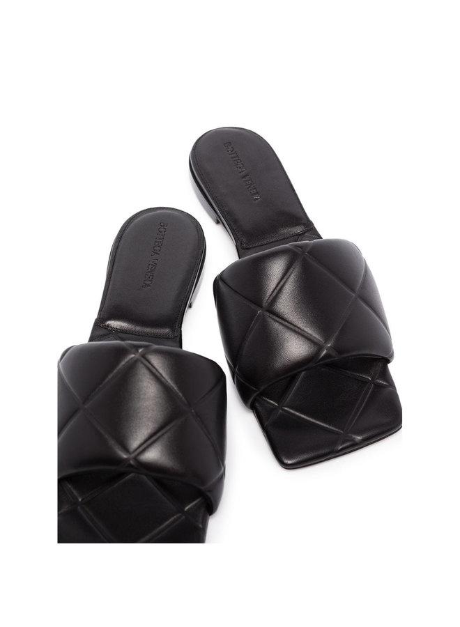 Rubber Lido Flat Mules in Intrecciato Leather in Black